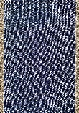 nuLOOM Alfombra de Fibra Natural Fenella de Tejido Plano, 2 pies 6 Pulgadas x 6 pies, Azul