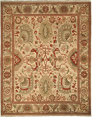 Safavieh Zeigler Mahal Collection ZM12A Hand-Knotted Ivory Wool Area Rug, 9 feet by 12 feet (9' x 12')