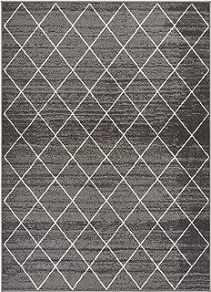 Well Woven Non-Skid/Slip Rubber Back Antibacterial 5x7 (5' x 7') Diamond Lattice Print Grey Thin Low Pile Machine Washable Indoor Outdoor Area Rug