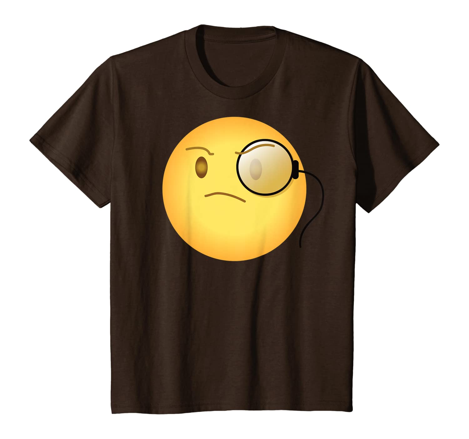 amazon com emoji emoticon face emotion icon arrogant monocle snobbish t shirt clothing amazon com