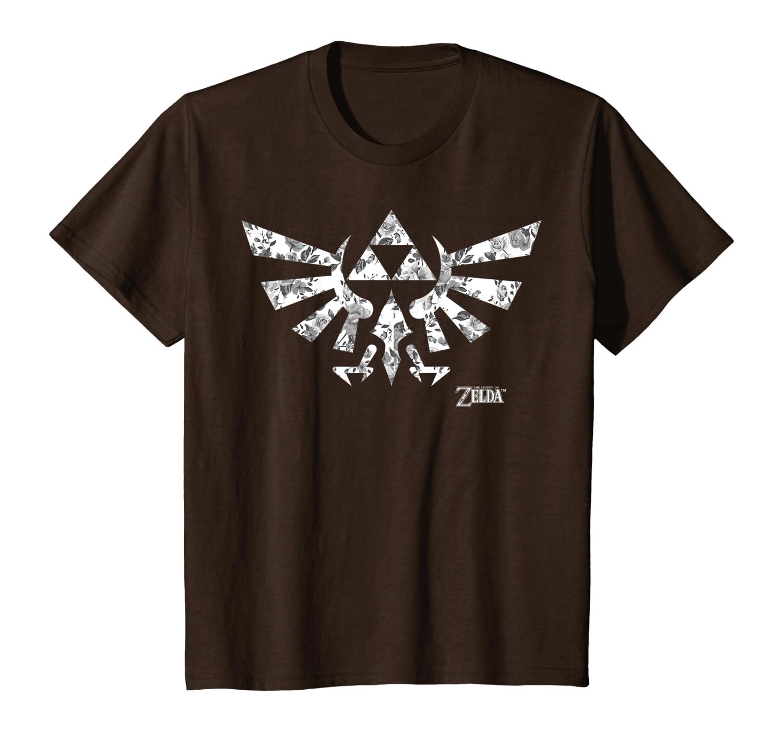 Amazon Com Legend Of Zelda Hyrule Crest Triforce Floral Logo T Shirt Clothing