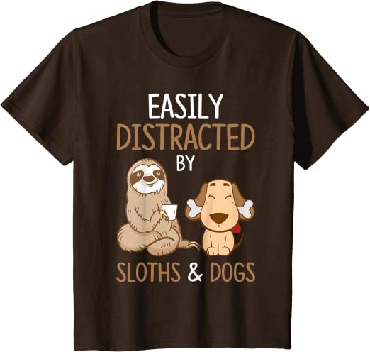 SLOTHS /& DOGS HOODIE Mens Funny Puppy ADHD Easily Distracted OCD Tee Top Animal
