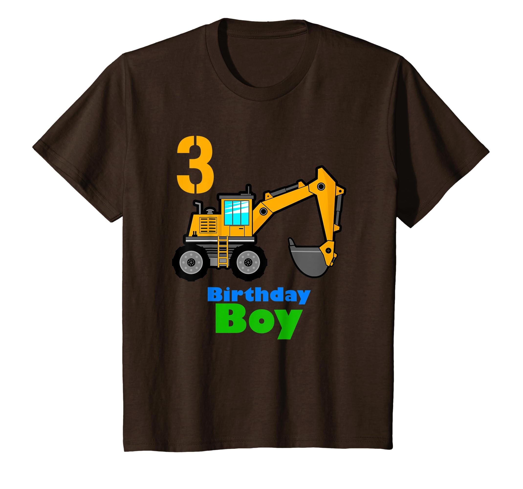 a84bc67c Amazon.com: Kids 3rd Birthday Excavator Shirt   3 Toddler Boy Dig Tee Gift:  Clothing