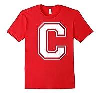 Letter C Capital Alphabet College Varsity Monogram Club T-shirt Red