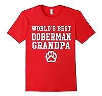 World\\\'s Best Doberman Grandpa Dog Lover Pawprint T-shirt Red