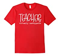 Tea Virtually Unstoppable Trending Social Distancing T-shirt Red