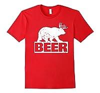 Beer Bear Plus Deer Equals Beer Funny Drinking Vintage Shirts Red