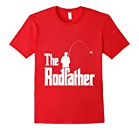 S The Rodfather Funny Fisherman T Shirt Sea, Fly Fishing Tee Red