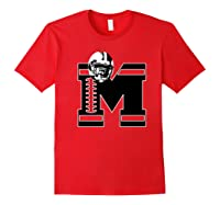 Football Monogrammed Gift Letter M Initial Shirts Red