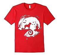 Cane Corso Halloween Costume Moon Silhouette Creepy T-shirt Red