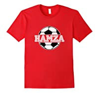 Soccer Boy Hamza Birthday Soccer Ball Name Shirts Red