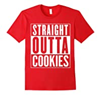 Straight Outta Cookies Distressed Vintage Funny Shirts Red