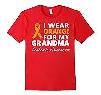 I Wear Orange For My Grandma T Shirt Ribbon Family Warrior Red