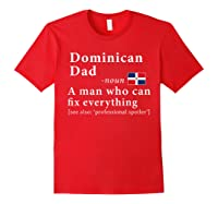 Dominican Dad Definition Dominican Republic Flag Fathers Shirts Red
