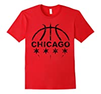 Vintage Basketball, Cool Gift, Chicago Flag Stars Shirts Red