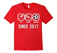 Eat Sleep Soccer Since 2017 Funny 2nd Birthday Gift Shirts Red
