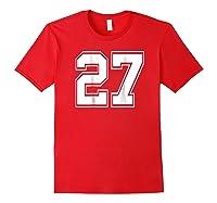 Number 27 Football Baseball Soccer Uniform T Shirt Red