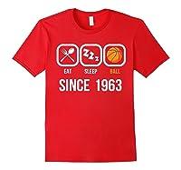 Eat Sleep Basketball Since 1963 56th Birthday Gift Shirts Red