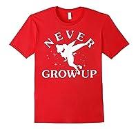 Disney Peter Pan Tinker Bell Never Grow Up Text Silhouette T-shirt Red