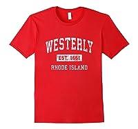 Westerly Rhode Island Ri Vintage Established Sports Design T-shirt Red