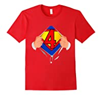 4 Year Old Superhero Birthday Party Super Hero 4th Gift Shirts Red