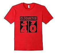 Oldometer Odometer Funny 40th Birthday Gift 40 Yrs Old Joke Shirts Red
