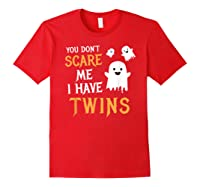 Funny Parents Of Twins Shirt Halloween Gift Red