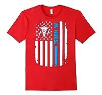Va Nurse Distressed American Flag Short Sleeve Tshirt Red