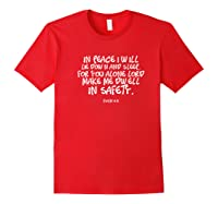 In Peace I Will Lie Down And Sleep Bible Verse Psalm 4:8 Premium T-shirt Red
