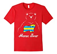Down Syndrome Mom Awareness Trisomy 21 Gold Blue Ribbon Gift T-shirt Red
