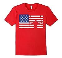 Gymnastics Rings Usa American Flag Gymnast 4th Of July T-shirt Red