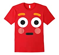Flushed Face Emoji Easy Lazy Group Halloween Costume Shirts Red