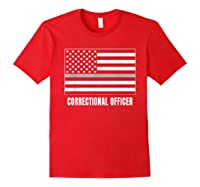 Correctional Officer Shirt Thin Gray Line T-shirt Gift Red