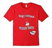 Magnet Fisherman Fishing Treasure Chest Hunting Wave Gift T-shirt Red