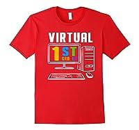 Remote Teaching Online Learning Virtual Tea Premium T-shirt Red