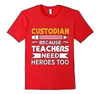 School Custodian Funny T-shirt Red