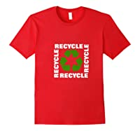 Green Eco Friendly Recycle Symbol Environtalist T Shirt Red