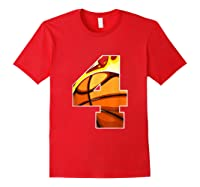 Number 4 Basketball Gift T-shirt Red