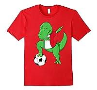 Dabbing Soccer T-rex Mexico Shirt - Mexican Football Red