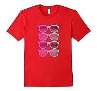 Pink Blue Blended Shades Summer Novelty Shirts Red