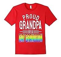Proud Grandpa Gay Grandson Pride Rainbow Flag Lgbt 2019 Gift Shirts Red