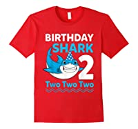 Birthday Shark 2017 2 Years Old Gift For Boy Girl Shirts Red