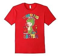 Roaring Into Kindergarten Dinosaur Shirt First Day School Premium T-shirt Red