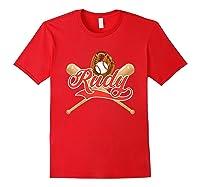 Baseball Player Rudy Birthday Boy T-shirt \\\'s Name Red