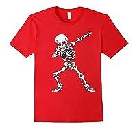 Dabbing Skeleton Halloween Costume Gift T-shirt Red
