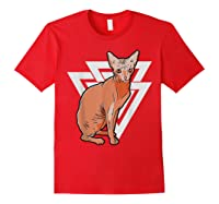 Vintage Geometric Sphynx Cat T-shirt Red