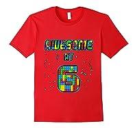 6 Years Old Birthday Gift I Age 6 Build Blocks Bricks Theme T-shirt Red