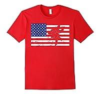 Distressed Judo Gi Usa American Flag Vintage Martial Arts T-shirt Red