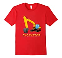 \\\' Excavator Digger T-shirt For S Red