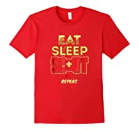 Eat Sleep Scout Repeat Funny Scouting Gift Shirts Red